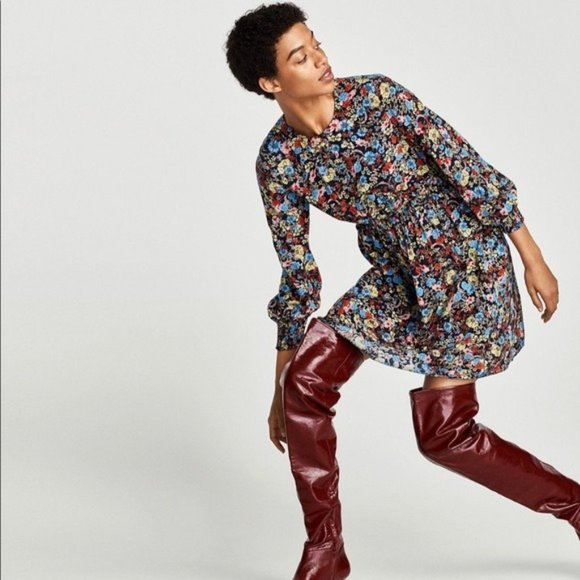 Zara | Floral Printed Long Sleeve Mini Dress New